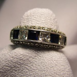 Fancy CZ and Lab Sapphire Silver Tone Ring Size 5